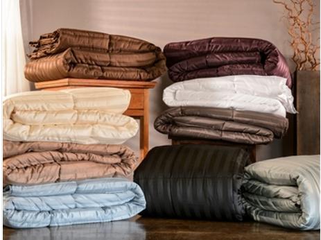 Wide Stripe Comforter: Smoke Blue (Twin XL)
