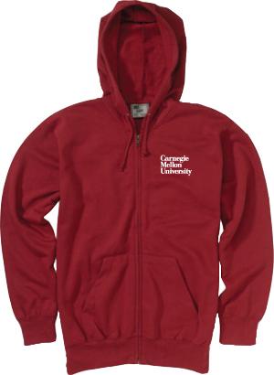 3 Line Wordmark Full Zip Hoodie: Cardinal