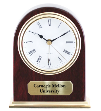 Clock: Arched Gold with CMU Plaque