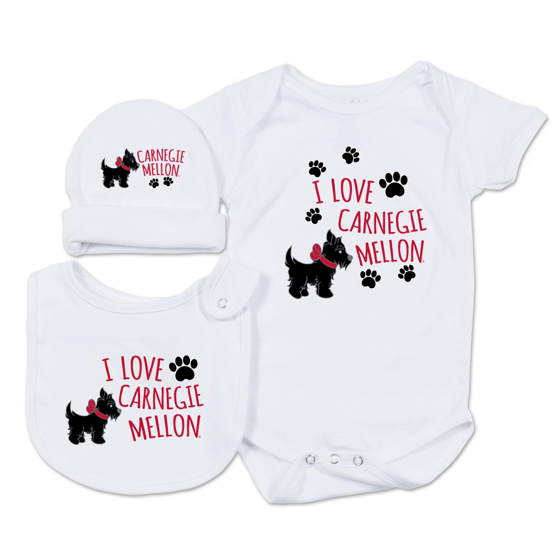 Infant Onesie, Bib & Hat Set: White