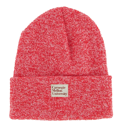 Marled Knit Cuff Beanie: Red