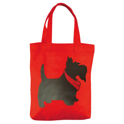 Image For <tote>Scotty Cotton Canvas Tote: Red