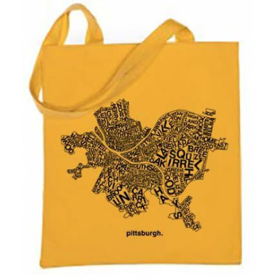 Image For <tote>Pittsburgh Map Tote: Yellow