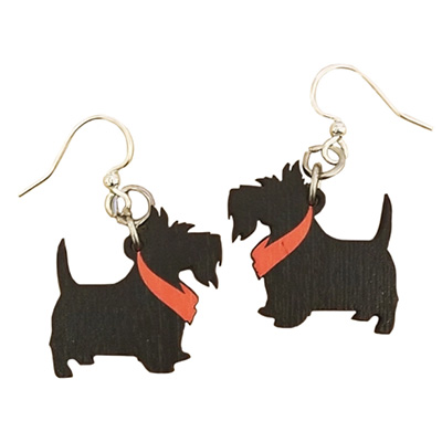 Image For Earrings: Wooden Scottie Dogs