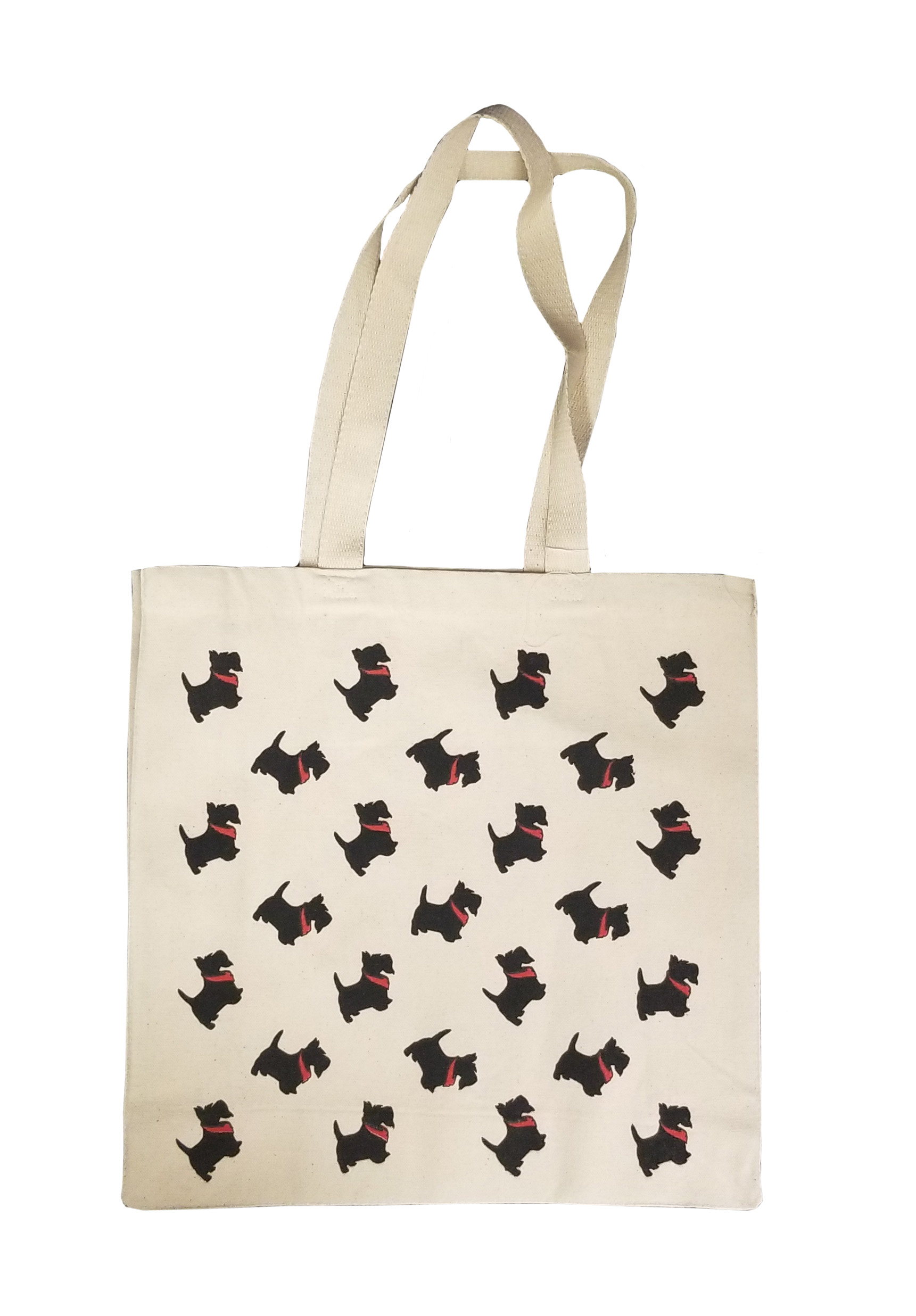 Image For <tote>Canvas Tote with Repeating Scotties