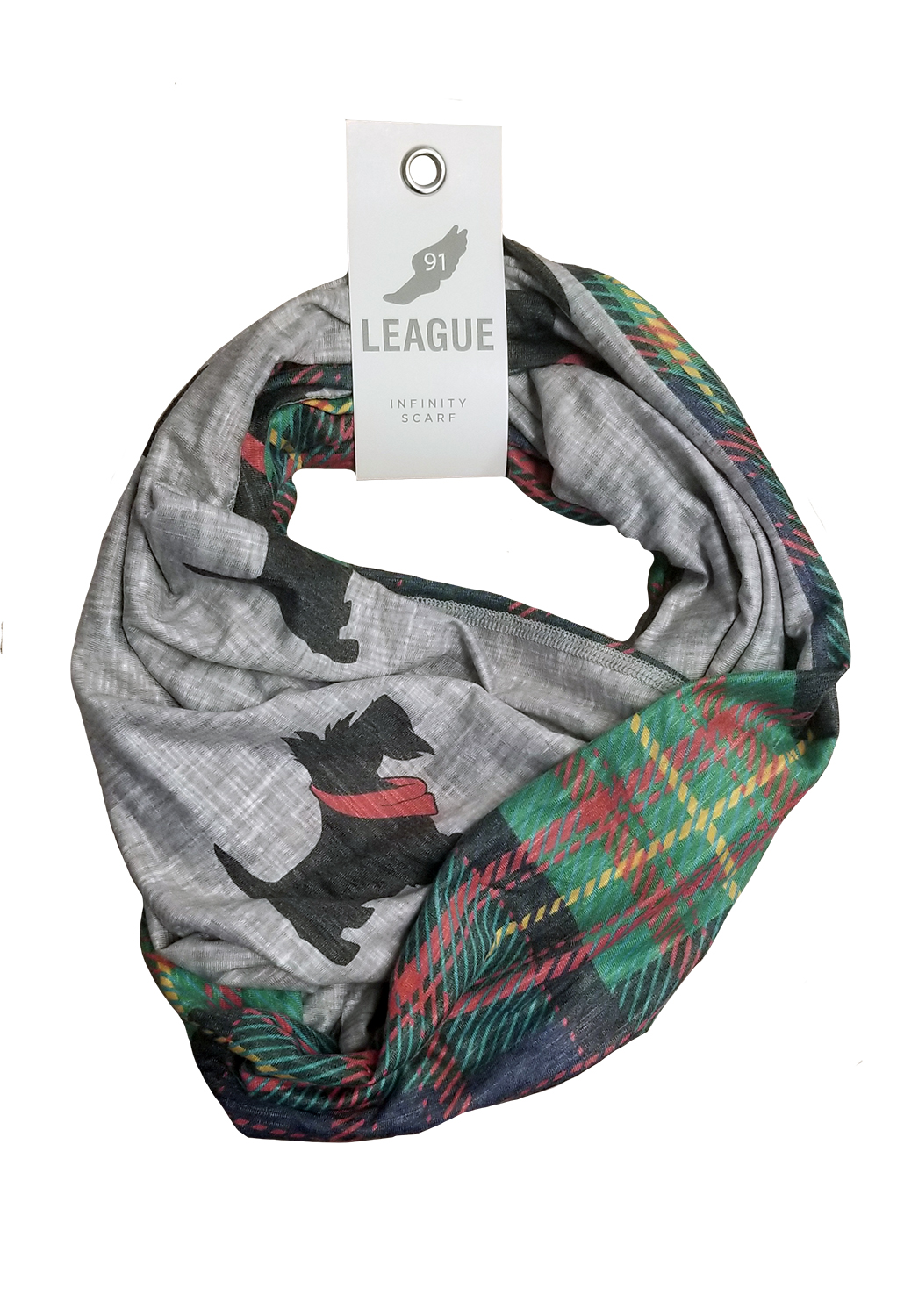 Image For <scarf>Reversible Infinity Scarf: Scotties/Tartan